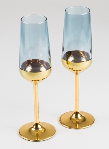 Rakle 195 cc Golden Eye 2'li Şampanya Kadehi Seti Mavi Mavi